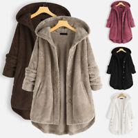 Fluffy Fleece Thick Bear Winter Coat Jacket Women's Casual Warm Teddy Lapel Fur