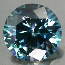 3.77Cts/9mm. Huge Glowing 100%Natural Top Blue Green Zircon Rd Diamond Cut Clean