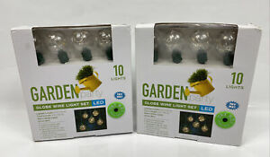 Garden Party Globe Wire 10ct LED Light Set Warm White Battery Powered LOT of 2