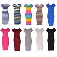 Unbranded Round Neck Patternless Midi Dresses for Women
