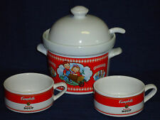 CAMPBELL'S SOUP Kids SOUP TUREEN w/Lid & Ladel & 2 SOUP CUPS MUGS