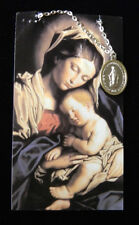 Lovely Miraculous Medal Pendant Silver Necklace Prayer Card Madonna Child