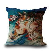 HORSE & WESTERN GIFTS HOME DECOR NATIVE USA HORSE CUSHION COVER 18 inch 45cms c