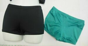 Lot of 2 pair Dancer Dance Booty Shorts Spandex Small adult slight low rise