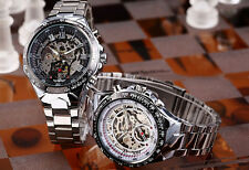 Winner Automatic Stainless Steel Case & Strap Skeleton White Face Watch