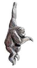 Monkey Pewter Pin Badge - Hand Made in Cornwall