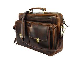 "Leather Office Briefcase Messenger Bag 17"" Laptop Satchel Business Trolley Strap"