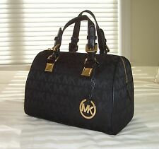 NWT Michael Kors Medium GRAYSON Satchel Bag MK Sig Jacquard Black/Black/Black