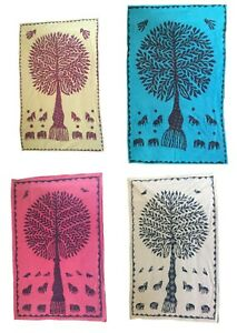 100% Cotton Traditional Wall Hanging Throw Ethnic Tree of Life Stitched Applique