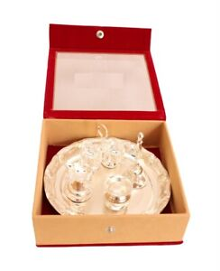 Silver Plated Pooja Aarti Thali Temple Home Diwali Gfit Item Set of 5 Pieces