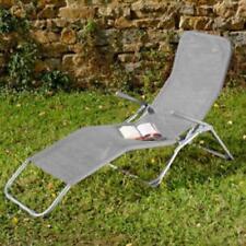 Bain de soleil en acier et textilene gris galet