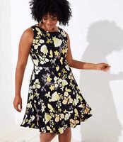NWT $69 Ann Taylor Loft Plus Golden Floral Flounce Hem Dress Black Yellow Sz 18