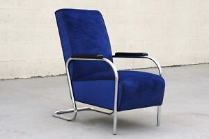 1930s Chrome Art Deco Armchair by Lloyd, Refinished