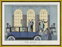 Framed George Barbier 1920s fashion plate Giclee Canvas Print Paintings Poster
