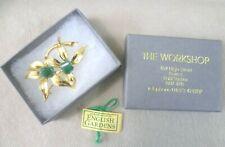 & Jade Floral Pin Brooch Vintage Costume Jewellery - Boxed Goldtone