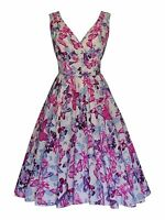40s 50s VTG Ivory Pink Butterfly Flared Bridesmaid Party Tea Dress New 16