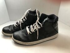Nike Jordan High Top Sneakers Black leather basket weave pattern Mens US Size 12