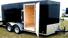 6'x12' Enclosed Trailer Cargo ATV Motorcycle Utility Box Trailers V Nose Tandem