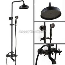 Black Oil Rubbed Brass Wall Mounted Rainfall Bath Rain Shower Faucet Set yhg040