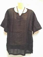 SHORT Sleeve T- shirt HIPPIE V-NECK MEN VINTAGE BOHO striped gringo tribal BLACK
