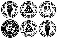 More details for x6 90mm vinyl window stickers northern soul retro vintage keep faith life wigan