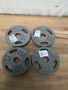 "x4 2.5 LB CAP 1"" Hole Iron GRIP Weight Plates 2 Pair Set of Four - 10 Lbs. Total"