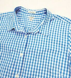 LL Bean Womens Wrinkle Free Blue Gingham Check Long Sleeve Button Up Shirt 3X