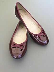 Clarks Flats 5 38 Ballet Dolly Shoe Burgundy Parent Leather Bow Smart Work Party