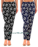 Ladies Loose Summer Trousers Stretch Elasticated Straight Leg Tapered Trousers.