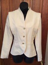 Vintage Cream Linen Effect Fitted Jacket 8-10 Wedding