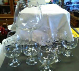 Mid Century Brandy snifter glasses with Brandy snifter glass shaped decanter