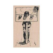 Mounted Rubber Stamp, Man In Stock, Punishment, Stock, Pilgrim, Pillory, Pranger