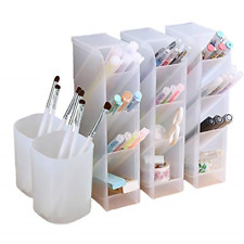 5 Pc Desk Organizer- Pen storage holder caddy 4 grid slant (3) + pencil cups (2)