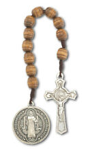"""St. Benedict One Decade Wood Rosary with 1.25"""" Jubilee Medal"""