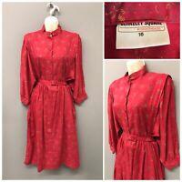 Vintage Berkeley Square by Nightingales Red Floral Dress UK 16 EUR 44 US 12