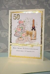 """Personalised Hand made 50th Golden Wedding Anniversary card. 5"""" x 7"""""""