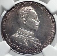 1913 PRUSSIA KINGDOM Germany WILHELM II Silver 2 Mark German Coin NGC i81949