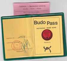 Budo-Pass + Mitgliedskarte 1975 Dokument Lüneburg Stempel Foto rar