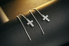 925 Sterling Silver CZ Cross Long Threader Earrings