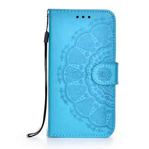 For Samsung A12 S21 S20 S20FE Case Mandala Flip Leather Wallet Card Holder Cover