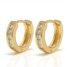 2pcs Stainless Steel Hoop Studs Earrings Rhinestone Crystal Huggie Jewelry Gift Gold