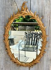Vintage Italian Rococo Style Foliate Carved Gold Giltwood Oval Wall Mirror 60s