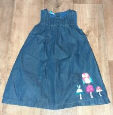 Girls John Lewis Dark Blue Denim Dress Age 2-3 Owl Bird Toadstool Sequin Design