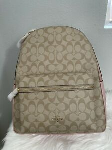 Coach F58314 Coated Canvas Leather Large Khaki/Pink Charlie Backpack