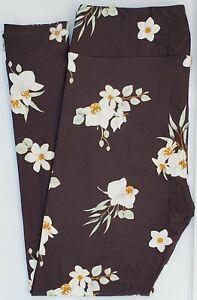 TC LuLaRoe Tall & Curvy Leggings Beautiful Flowers on Dark Gray NWT G23