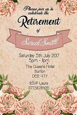 Personalised Vintage Floral Ladies Retirement Party Invites inc envelopes R15
