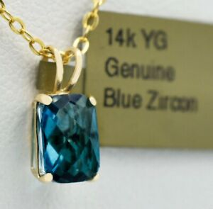 GENUINE 1.84 Cts BLUE ZIRCON PENDANT 14K YELLOW GOLD * New With Tag *