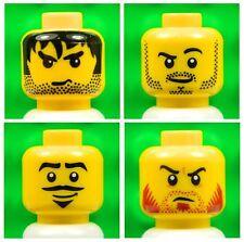 Lego Male Yellow HEADS [x4] for minifigures boy man beard mustache # NEW # 4p7