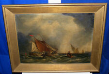 SEASCAPE STORM ANTIQUE OIL PAINTING - BRITISH FLAG