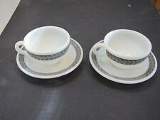 Vintage Pyrex milk white w grey fern band & daisy cluster 2 cups & saucers